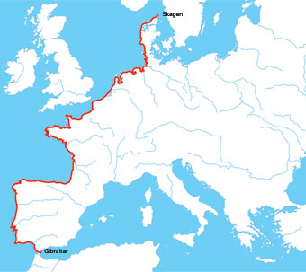 Map Of Europe West.The West Coast Of Europe